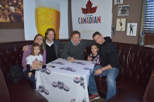 Former Leafs, Shane Corson & Gary Leeman, with the Morton Family.
